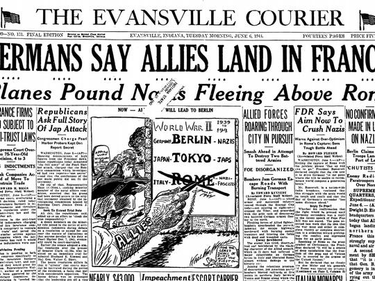 The front page of the Evansville Courier on June 6, 1944.