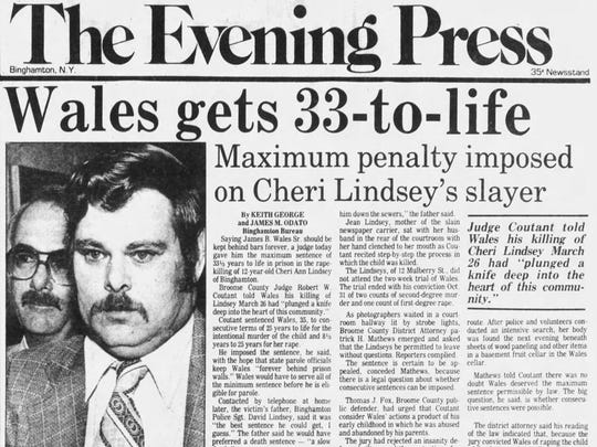 The Dec. 7, 1984 front page of The Evening Press announces James Wales' sentencing for the murder of Cheri Lindsey in Binghamton.