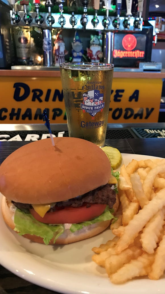 A Monster Burger and fries from Gateway Casino and