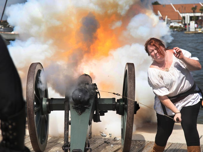 Courtney Smith, of the Skeleton Crew, fires off a cannon