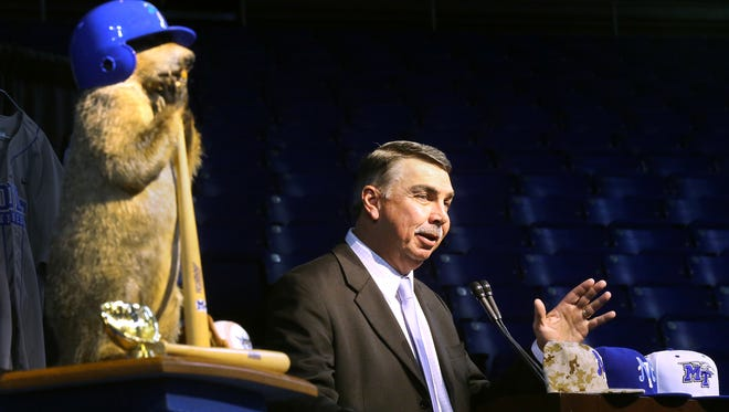 MTSU head baseball coach Jim McGuire speaks to a crowd at Murphy Center on Tuesday, Feb. 2, 2016, during the 43rd annual Groundhog Day luncheon and fundraiser for the baseball team.