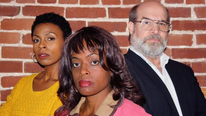 "Tamiko Robinson Steele, left, Colette Divine and Alan Lee star in the Tennessee Women's Theater Project regional premiere of ""Lines in the Dust."""