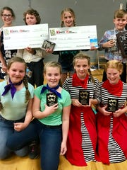"""Lily Jones and Garret Bodily placed second, Ashlyn Jarrett and Kale Baumann placed first, Maya McNight and Iris Frates-Stone placed third and Kalia Durocher and Lexy Fleming won """"Best Dressed"""" in the 2018 Valley View Jitterbug Competition."""