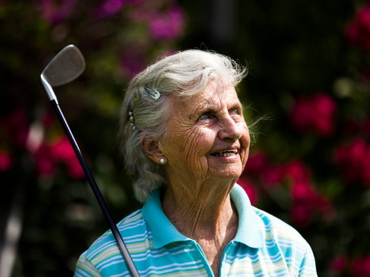 Shirley Harmann, 87, poses for a portrait on Wednesday, April 19, 2017 at Vi at Bentley Villages in North Naples. Hartmann plays golf every week and is chairperson of the Nine-Hole Club at her senior community.