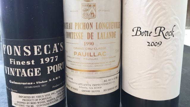 Here are three wines that will benefit from decanting.  The 1977 Fonseca is an old port now at peak, which will have the most sediment.  Avoid the copious dregs by decanting.  Because it is fortified, it will hold up the longest after uncorking. The Bordeaux is starting to age but will have fine sediment.  Drink it as soon as decanted to maximize your enjoyment of the aroma and nuance of this lovely wine.  The Bone Rock, a Rhone style wine from Saxum, is young even with six years of aging.  This behemoth will benefit from aeration gained by decanting at least an hour or two before consumption.