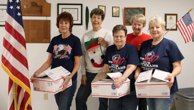 The Auxiliary Troop Box Committee at the Bull Shoals VFW Hoevel-Barnett Post 1341 in Bull Shoals filled 37 Christmas troop boxes stuffed full with personal hygiene items, candy and snacks, powdered drinks and soup mixes, coffee, packets of Christmas cards and other items requested by soldiers serving in the Middle East. Volunteers participating are: (from left) Connie Jacobs, Elaine Volck, Dee Stoeser, Marny Soluri andChris O'Sullivan. Not pictured:Jan Smith, Dian Millerand Ed Zachar.The committee would like to thank the following for their generous donations that helped make it possible to send Christmas cheer to those serving our country so far from home:Flippin Walmart, Flippin Walmart customers, Gilbert Realty, Beaman Realtyand Flippin State Farm Insurance.