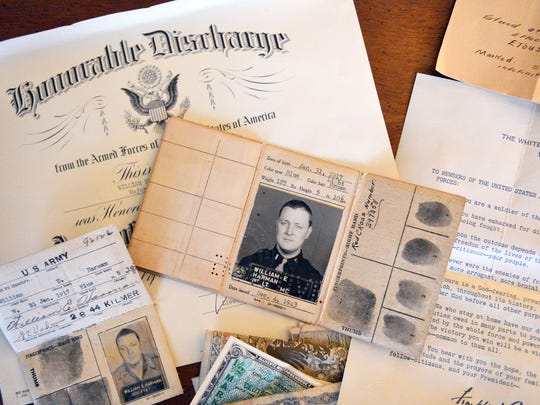 Documents offer a peek into Dr. William Harman's time as a U.S. Army doctor during World War II.  Mike Tripp/The News Leader Some of the items that mark veteran William E. Harman's time as a U.S. Army doctor during World War II.