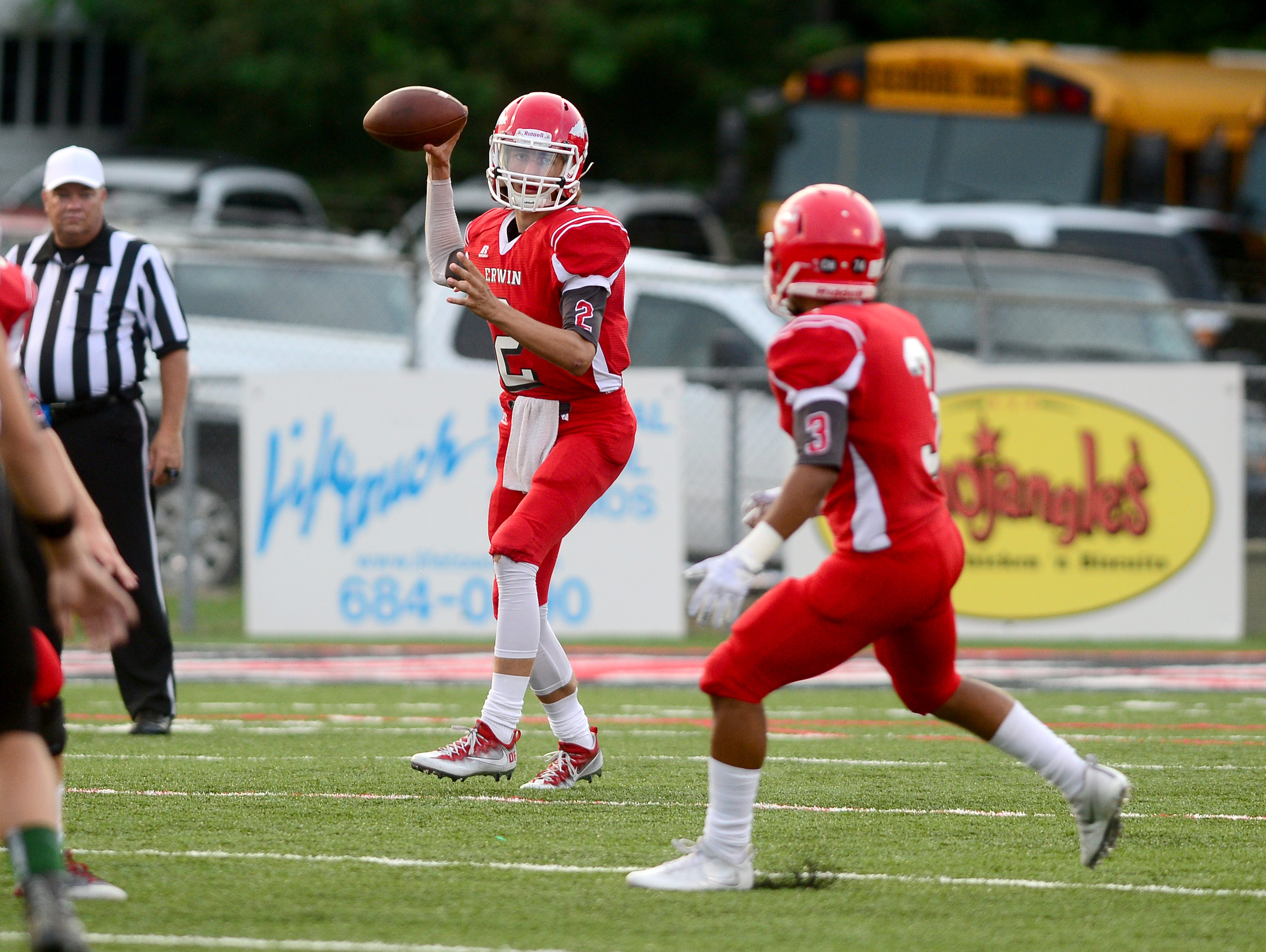Erwin quarterback Damien Ferguson passed for his 6,000th career yard in Friday's home loss to Mountain Heritage.