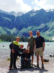 The McAllister family at Avalanche Lake in Glacier National Park. From the left: Tavin, Logan, Isaac, Abby, Kaden and Harley.
