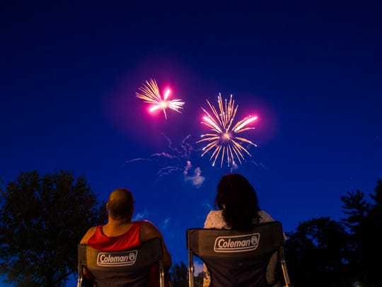 Fireworks explode during Jazz Fest in Iowa City on