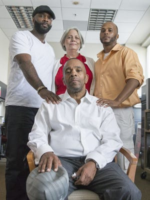 Darryl Pinkins (front), with son Dameon Pinkins, lawyer Fran Watson and nephew Kelvin Henderson, at IUPUI on June 1, 2016.