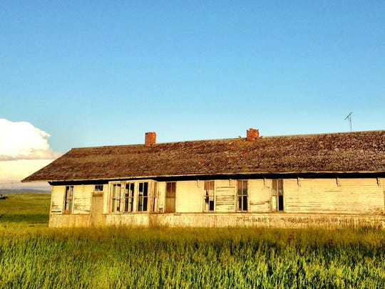 The Ringling depot is in ruins but glows at sunset.