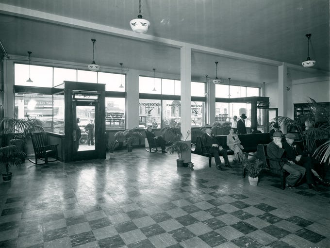 Grand Avenue Bus Terminal Interior. Photo shows waiting
