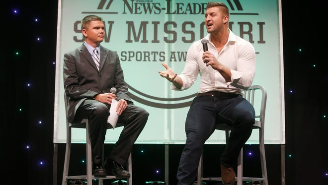 News-Leader prep sports reporter Rance Burger interviews Tim Tebow during the Southwest Missouri Sports Awards.