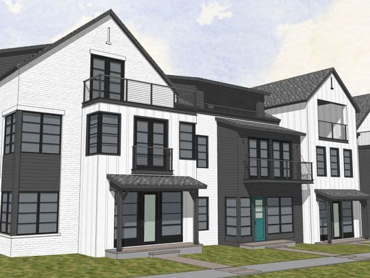 A rendering shows a 4-unit row home as part of the