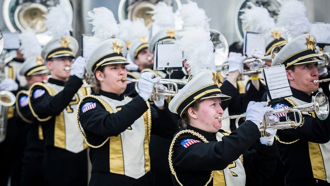 The Purdue Marching Band performs at the Indianapolis Motor Speedway Sunday, May 28, 2017.