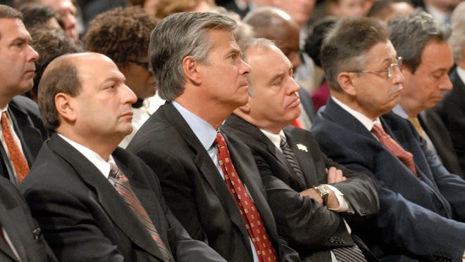 This 2008 photo shows, from left, then-state Sens. Thomas Libous, R-Binghamton, Dean Skelos, R-Nassau County, Comptroller Thomas DiNapoli and Assembly Speaker Sheldon Silver, D-Manhattan in Albany. Libous, Skelos and Silver have since been disgraced in scandals.