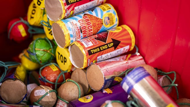 Large fireworks -- or aerial mortars -- require a license for legal use and detonation. The fire marshall has arranged for a company to properly dispose of the gun powder and chemicals within the fireworks. [Dana Sparks/The Register-Guard] - registerguard.com