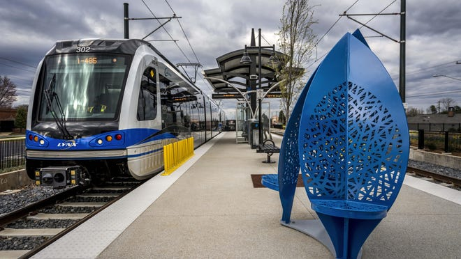 A train on the LYNX Blue Line Extension is seen in Mecklenburg County. The Metropolitan Transit Commission in Charlotte on Feb. 27 approved a long-term plan to extend a new light rail route into Gaston County.