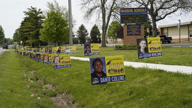 Yard signs honoring the Madison High School graduating class of 2020 were placed in front of the Madison School District buildings during the week of May 23-29. The school district has announced it will hold a commencement ceremony at 7:30 p.m. Aug. 7 outdoors on the newly renovated football field complex.
