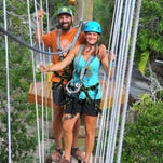 Owners Kelly and Matt VanDenBeldt up high on the roller coaster. Cocoa Beach Aerial Adventures had originally planned to open mid-summer, but had a few delays for permits and inspections. They are  planning to have their grand opening September 1st.