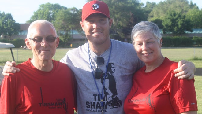 Clarenceville and Tim Shaw have always had a special two-way relationship. Shaw is shown in this 2015 photo along with parents John and Sharon.