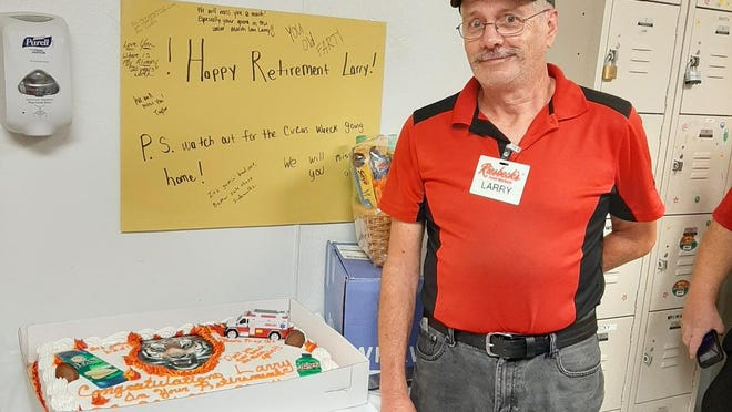 On Friday, Aug. 21, the New Concord Riesbeck's grocery store celebrated the retirement of Larry Downard, who retired after 43 years in the store.