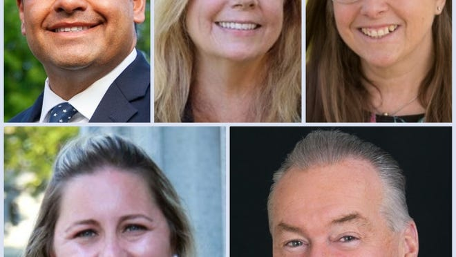 Clockwise from left,  Noel DiBona of Quincy, Colleen Brierley of Norwood, Kathryn Hubley of Quincy,  Michael Walsh of Westwood and Courtney Madden of Quincy. All five are running for Norfolk County Register of Probate.
