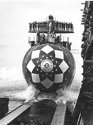 USS Cincinnati submarine being launched in 1977