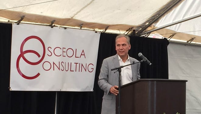 Kevin Narcomey, president and CEO of Osceola Consulting, speaks at a grand opening ceremony in Cabazon on Thursday.