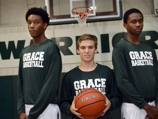Grace Christian's sophomore trio of (from left) center Demarcus Hall, point guard Ben Preuett and forward Elijah Hampton, have the Warriors once again knocking on the door of the LHSAA Boys' Top 28.