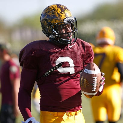 ASU running back Kalen Ballage (9) at spring football