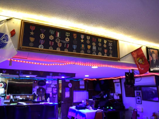 Medals on display in the Lyndhurst VFW Post #3549,