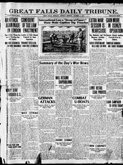 Front page of the Great Falls Daily Tribune from Monday, Oct. 1, 1917.