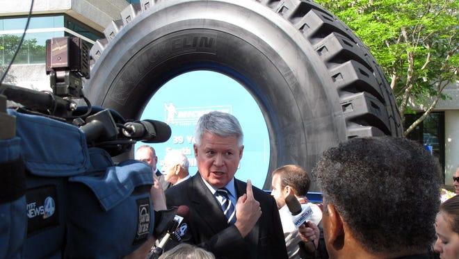 Michelin North America President Pete Selleck speaks at the tire maker's North American headquarters in Greenville, S.C.