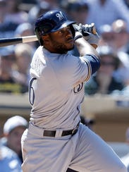 Lorenzo Cain had no strikeouts in 15 plate appearances in San Diego.