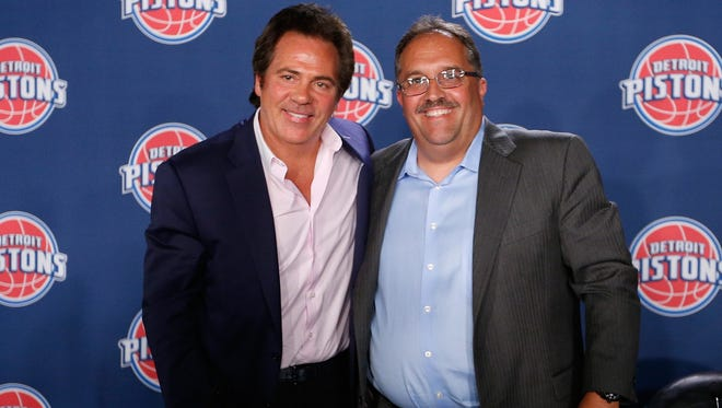 Detroit Pistons owner Tom Gores, left, and team president/coach Stan Van Gundy.