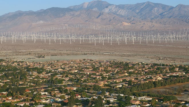 An aerial view of Palm Springs looking west. Palm Springs City Manager David Ready has the highest salary of the Coachella Valley's nine city managers,