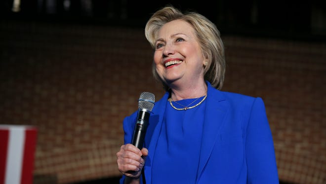 Hillary Clinton smiled at suppporters during a rally at Slugger Field.May 10, 2016