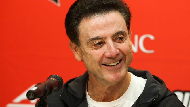 Louisville coach Rick Pitino speaks to the media during his weekly press conference.November 9, 2016