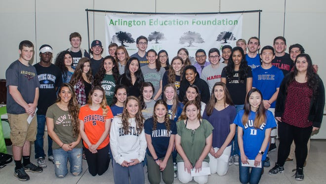 Arlington Education Foundation scholarship recipients are shown during the June 7 recognition breakfast event.