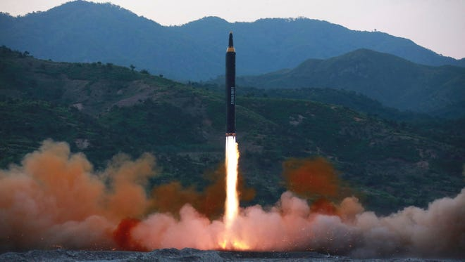 This May 2017 photograph distributed by North Korea shows what Pyongyang says is the Hwasong-12, a new type of ballistic missile.