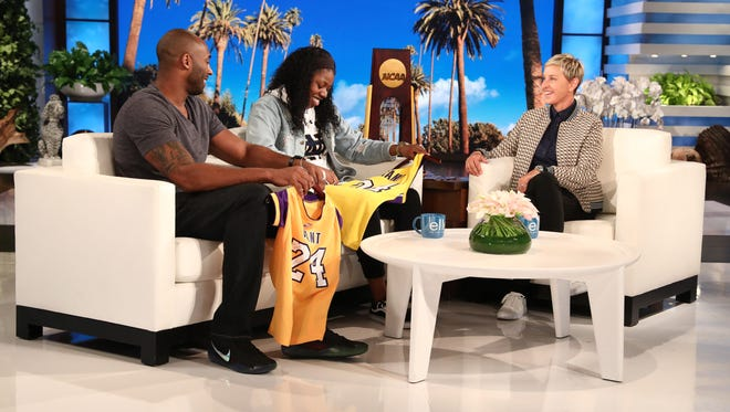 """Arike Ogunbowale, a Milwaukee native who hit two game-winning shots in the NCAA women's basketball Final Four for Notre Dame, is surprised by her hero, Kobe Bryant during a taping of """"The Ellen DeGeneres Show."""""""