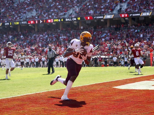 ASU's Ceejhay French-Love catches a touchdown pass