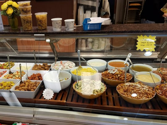 Soups and salads at Pino's Deli and Subs. Most are made on site.