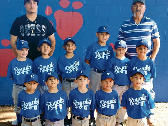 Submitted Photo   The Deming Junior Coach-Pitch League as the Royals sitting atop the regular season standings heading into this week of play. The Royals were unbeaten, with one game remaining on its regular-season schedule. The team is, standing from left, Assistant Coach Sergio Granillo, Elijah Jasso, Evan Lopez, Aaron Soto, Uziel Gomez, Jaxson Kelly, Devyn Garces and and Head Coach Sergio Granillo. Kneeling, from left, are Anibal Ortega, Izayah Payan, Brandon Smith, Nathaniel Taylor and Sergio Granillo (Chapo). Not pictured is Jose Payan.