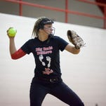 Port Huron freshman Madeline Trombly, 14, fields a ground ball during softball practice Friday, March 27, 2015 at Port Huron High School.