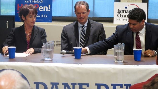 From left, the three Democratic candidates for Wisconsin attorney general: Jefferson County District Attorney Susan Happ, state Rep. Jon Richards and Dane County District Attorney Ismael Ozanne.