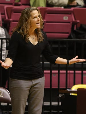 Midwestern State head women's basketball coach Noel Johnson talks to her team as they play against Angelo State Thursday, Dec. 8, 2016, at D.L. Ligon Coliseum at MSU. Midwestern State lost to Angelo State 84-47.