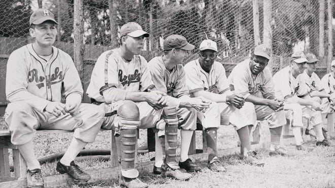 After being told to leave Sanford, Robinson (fifth to the right) was sent to Daytona Beach, where he would make his Montreal Royals debut at City Island Ballpark on March 17, 1946.